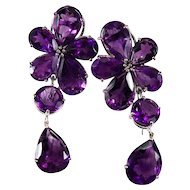Natural Amethyst Day Night Earrings 18k Gold Convertible 47.75ctw Flower Amethyst Earrings