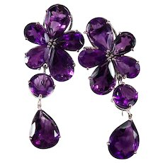 Natural Amethyst Day Night Earrings 18k Gold Convertible 47.75ctw Flower Amethyst Earrings