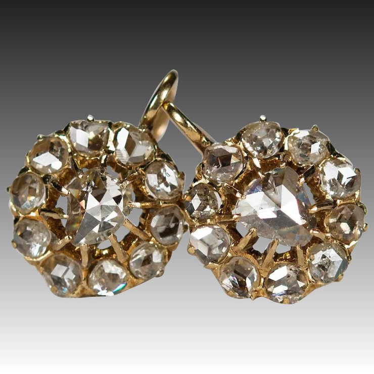 Antique 2ctw Old Rose Cut Diamond Earrings 18k Gold Openwork