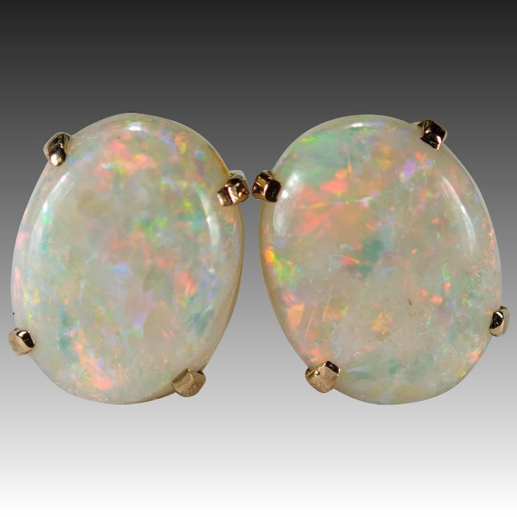 Natural Precious Opal Stud Earrings 3ctw 14k Gold Studs Genuine