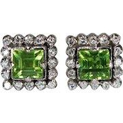 Natural Peridot Diamond Earrings 10k Gold Screw Back Studs Diamond Peridot Stud Earrings