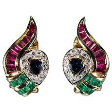 Ruby Sapphire Emerald Diamond Earrings 3.75ctw 18k Gold Pierced Or Clip On Owl Eyes Mixed Gemstone Earrings