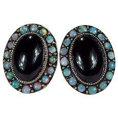 Natural Black Opal Garnet Stud Earrings 14k Gold Natural Garnet Opal Earrings Opal Studs