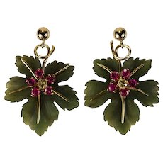 Hand Carved Jade Leaf Earrings 14k Gold Ruby Sapphire Jade Earrings