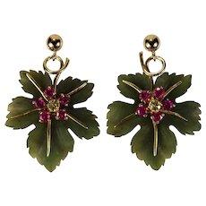 Carved Jade Leaf Ruby Sapphire 14k Gold Hand Carved Natural Jade Earrings