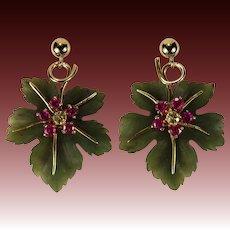 Hand Carved Jade Leaf Earrings 14k Gold Ruby Sapphire Jade Earrings