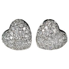 Pave Diamond Heart Stud Earrings 14k Gold 1.56ctw Puffy Heart Diamond Studs