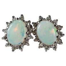 Natural Opal Diamond Halo Earrings 14k Gold Diamond Opal Studs