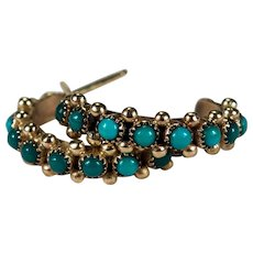 Turquoise Hoop Earrings 14k Gold Natural Turquoise Beaded Crescent Hoops