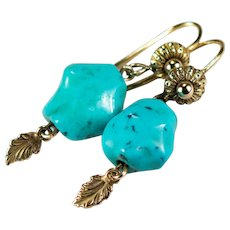 Turquoise Earrings 14k Gold Etruscan Turquoise Nugget Earrings
