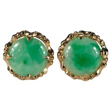 Natural Jade Button Earrings 14k Gold Jade Disc Studs