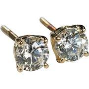Solitaire Diamond Stud Earrings 1ctw 14k Gold Screw Back Studs Natural Diamond Earrings