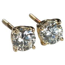 Solitaire Diamond Stud Earrings 1ctw 14k Gold Screw Back Studs Natural Diamond Earrings