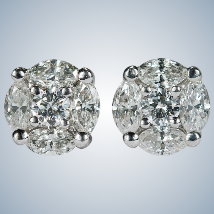 dab474db6e011 Diamond Stud Earrings 2.50ctw 14k Gold Diamond Earrings