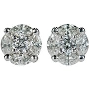 Diamond Stud Earrings 2.50ctw 14k Gold Diamond Earrings