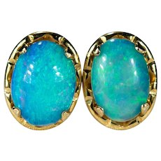 Natural Precious Opal Stud Earrings 14k Gold Opal Studs