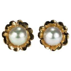 Genuine Pearl Flower Stud Earrings 14k Gold Cultured Pearl Studs