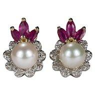 Ruby Pearl Diamond Earrings 14k Gold Ruby Crown Diamond Cultured Akoya Pearl Studs