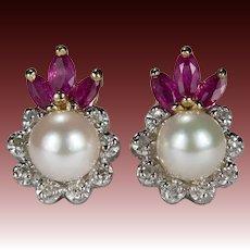 Ruby Pearl Diamond Earrings 14k Gold Ruby Crown Diamond Cultured Akoya Pearl Earrings