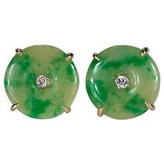 Jade Diamond Stud Earrings 14k Gold Natural Jade Disc Studs Diamond Jade Earrings
