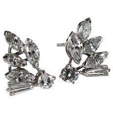 Art Deco Platinum Diamond Earrings 1.94ctw Natural Diamond Studs