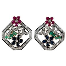 Ruby Emerald Sapphire Diamond Earrings 7.60ctw 14k Gold Mixed Gemstone