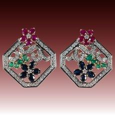 Ruby Emerald Sapphire Diamond Earrings 7.60ctw 14k Gold Mixed Gemstone