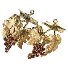 Garnet Grape Bunch Earrings 18k Gold Hand Crafted Grape Leaf Vine Garnet Earrings