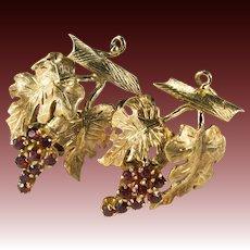Garnet Grape Bunch Earrings 18k Gold Hand Crafted Grape Leaf Vine Garnet Earrings
