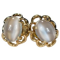 Natural Moonstone Earrings 14k Gold Moonstone Studs