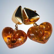 Natural Baltic Amber Heart Earrings 14k Gold Pierced Dangle Hearts