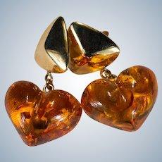 Natural Baltic Amber Heart Earrings 14k Gold Pierced Dangle Hearts