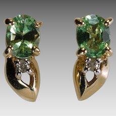 Peridot Diamond Flower Studs 14k Gold Peridot Stud Earrings