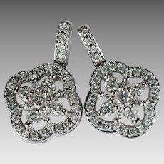 Natural Diamond Earrings 1.44ctw 14k Gold Open Work Filigree Pierced Dangle Drop Diamond Earrings