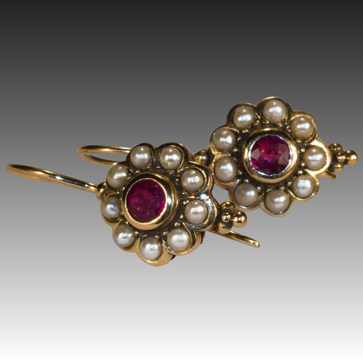 Ruby Pearl Earrings 14k Gold Etruscan Natural Seed Halo Drop