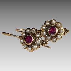 Ruby Pearl Earrings 14k Gold Etruscan Natural Ruby Seed Pearl Halo Drop Earrings