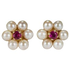 Ruby Pearl Stud Earrings 14k Cultured Pearl Halo Ruby Flower Studs