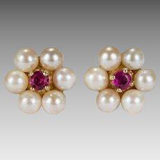 Ruby Pearl Stud Earrings 14k Cultured Pearl Halo Ruby Flower Studs