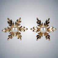 Adorable Pearl Snowflake Stud Earrings 9k Gold Seed Pearl Studs
