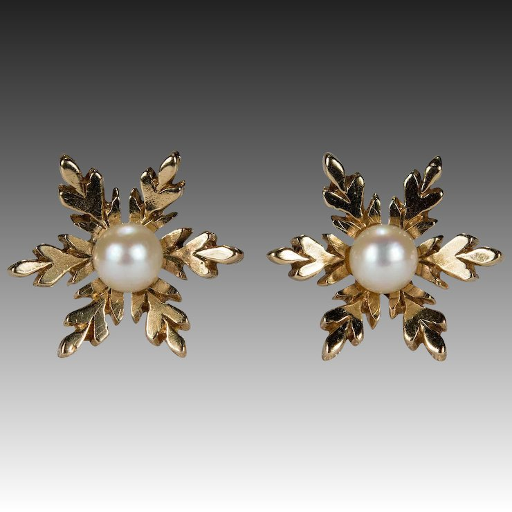Adorable Pearl Snowflake Stud Earrings 9k Gold Seed Studs