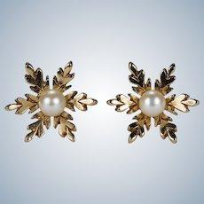 Pearl Snowflake Studs 9k Gold Genuine Cultured Pearl Stud Earrings