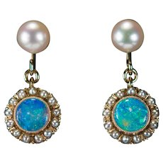 Natural Opal Seed Pearl Earrings 14k Gold Pierced Dangle Cultured Pearl Opal Earrings