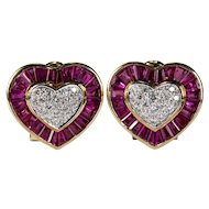 Ruby Diamond Heart Earrings 14k Gold Numbered Michael Anthony Pierced Or Non Pierced Omega Back