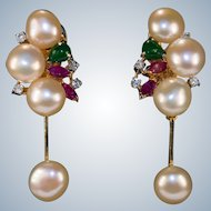Emerald Ruby Diamond Pearl 14k Gold Baroque Button Pearl Dangle Earrings