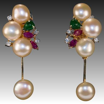 Emerald Ruby Diamond Pearl 14k Gold Baroque Button Pearl Dangle Earrings