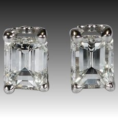 Emerald Cut Diamond Earrings 1.10ctw 14k Gold Natural Diamond Studs Pierced Screw Back Stud