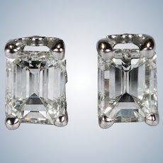 Emerald Cut Diamond Earrings 1.10ctw 14k Gold Natural Diamond Studs Pierced Screw Back Stud