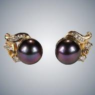 Black Tahitian Peacock Pearl Diamond Stud Earrings 14k Gold Cultured Pearl Studs