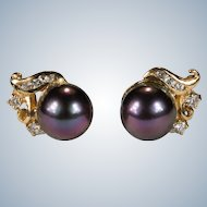 Black Tahitian Peacock Pearl Diamond Stud Earrings 14k Gold Cultured Pearl Studs