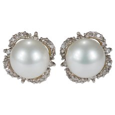 Snow White Pearl Diamond Earrings 14k Gold Akoya Cultured Pearl Diamond Halo Studs